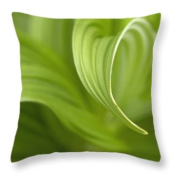 Natural Green Curves Throw Pillow by Claudio Bacinello