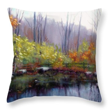 Throw Pillow featuring the painting Nature Center Pond At Warner Park In Autumn by Janet King