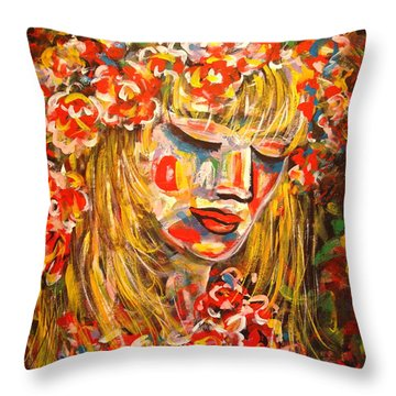 Nature Girl Throw Pillow by Natalie Holland