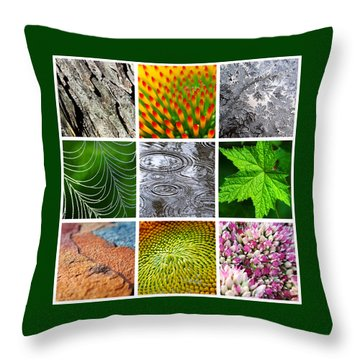 Nature Patterns And Textures Square Collage Throw Pillow by Christina Rollo