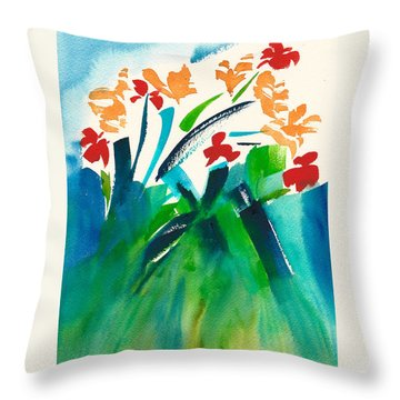 Throw Pillow featuring the painting Natures Bouquet Abstract by Frank Bright