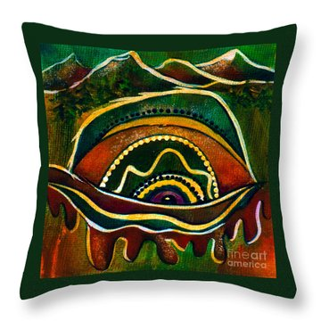 Throw Pillow featuring the painting Nature's Child Spirit Eye by Deborha Kerr