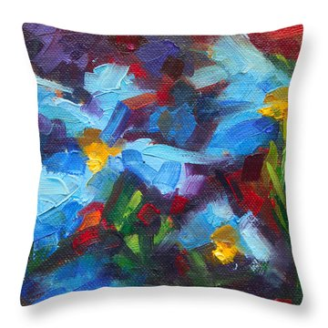 Nature's Palette - Himalayan Blue Poppy Oil Painting Meconopsis Betonicifoliae Throw Pillow by Talya Johnson