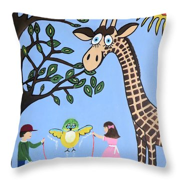 Throw Pillow featuring the painting Nature's Playground by Kathleen Sartoris