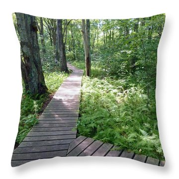 Throw Pillow featuring the photograph Nature's Walkway by Mary Lou Chmura