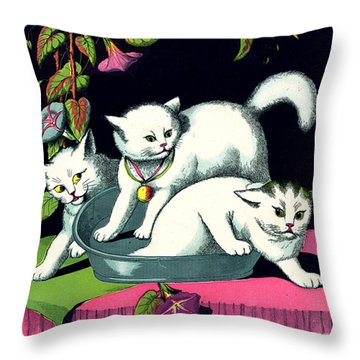 Naughty Cats Play In Tub On Table With Morning Glories Throw Pillow by Pierpont Bay Archives
