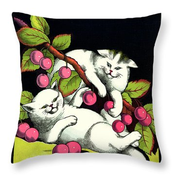 Naughty Cats Play With Cherries  Throw Pillow by Pierpont Bay Archives