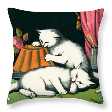 Naughty Cats Preen And Lounge With Rose Topped Cake Throw Pillow by Pierpont Bay Archives