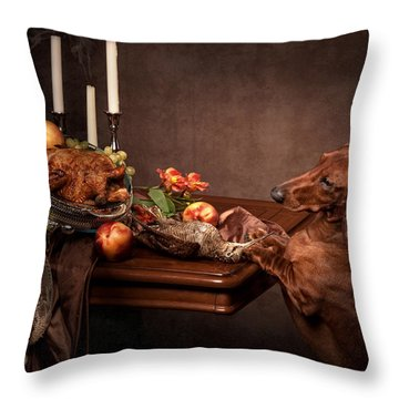 Naughty Dachshund  Throw Pillow by Tanya Kozlovsky
