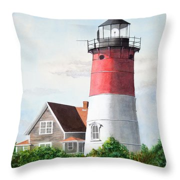 Nauset Beach Memories Watercolor Painting Throw Pillow