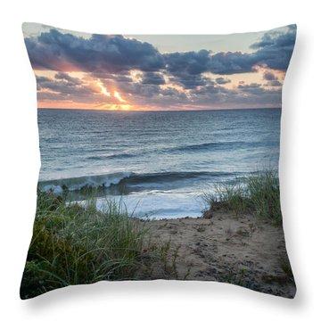 Nauset Light Beach Sunrise Square Throw Pillow by Bill Wakeley