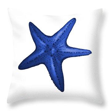 Nautical Blue Starfish Throw Pillow