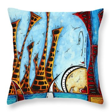 Nautical Coastal Art Original Contemporary Cityscape Painting City By The Bay By Madart Throw Pillow by Megan Duncanson