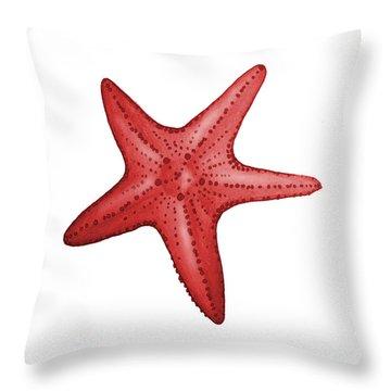 Nautical Red Starfish Throw Pillow