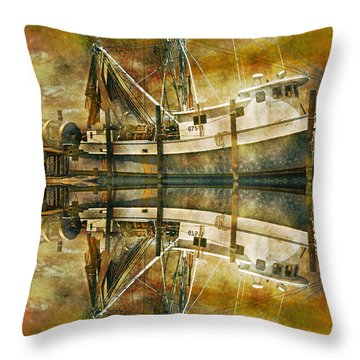 Nautical Timepiece Throw Pillow by Betsy Knapp