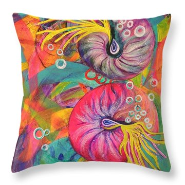 Throw Pillow featuring the painting Nautilus by Lyn Olsen