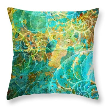 Nautilus Seashells In Aqua Throw Pillow