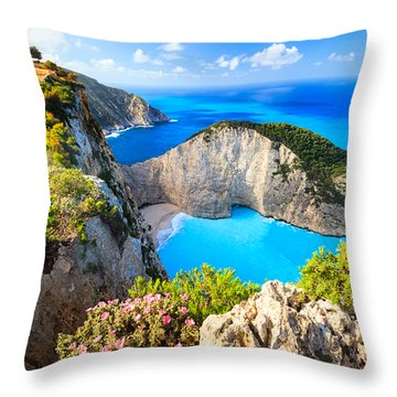 Navagio Bay Throw Pillow