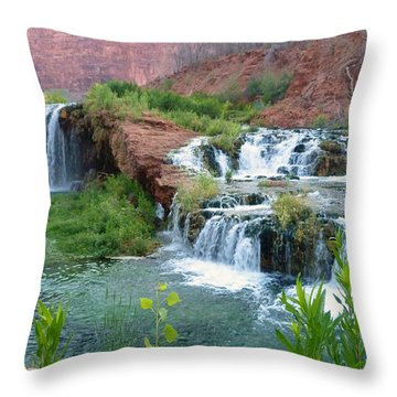 Throw Pillow featuring the photograph Navajo Falls by Alan Socolik