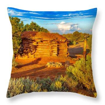 Navajo Hogan Canyon Dechelly Nps Throw Pillow by Bob and Nadine Johnston
