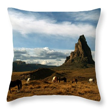 Navajo Horses At El Capitan Throw Pillow