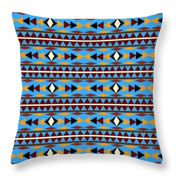 Navajo Blue Pattern Throw Pillow