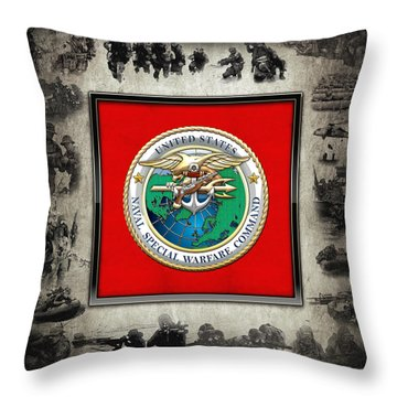 Naval Special Warfare Command - N S W C - Emblem  Over Navy Seals Collage Throw Pillow