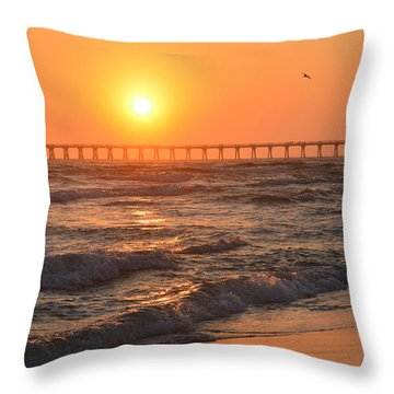 Navarre Beach And Pier Sunset Colors With Birds And Waves Throw Pillow