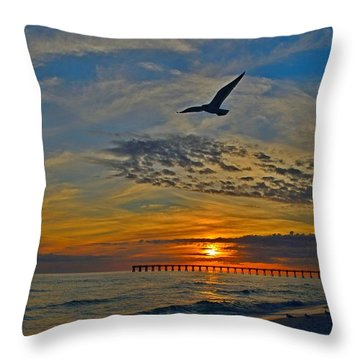 Navarre Beach And Pier Sunset Colors With Gulls And Waves Throw Pillow by Jeff at JSJ Photography