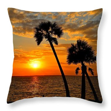 Navarre Beach Bridge Sunrise Palms Throw Pillow