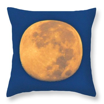 Throw Pillow featuring the photograph Navarre Beach Full Moon At Sunrise by Jeff at JSJ Photography