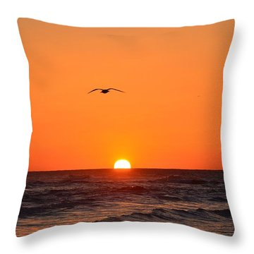 Navarre Beach Sunrise Waves And Bird Throw Pillow by Jeff at JSJ Photography