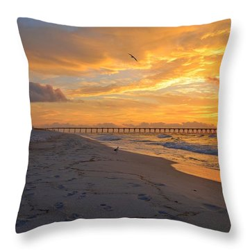 Navarre Pier And Navarre Beach Skyline At Sunrise With Gulls Throw Pillow