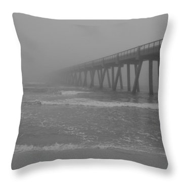 Navarre Pier Disappears In The Bw Fog Throw Pillow by Jeff at JSJ Photography