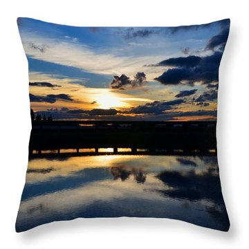 Navy Blue Sunset Throw Pillow