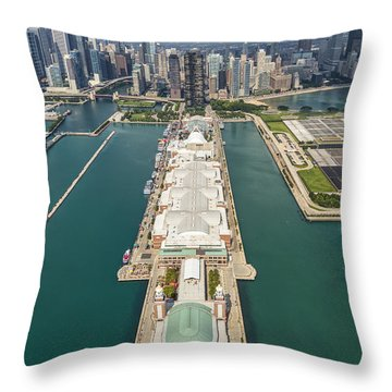 Navy Pier Chicago Aerial Throw Pillow