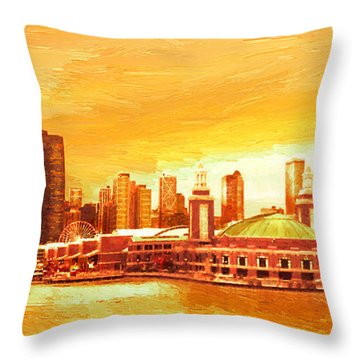 Throw Pillow featuring the painting Navy Pier Chicago --autumn by Doug Kreuger
