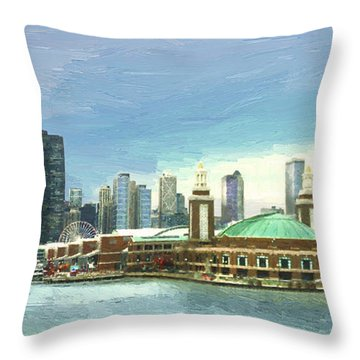 Throw Pillow featuring the painting Navy Pier Chicago --winter by Doug Kreuger