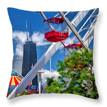 Navy Pier Ferris Wheel Throw Pillow by Christopher Arndt