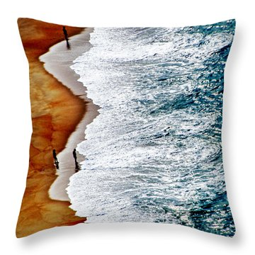 Throw Pillow featuring the pyrography Nazare Beach by Selke Boris