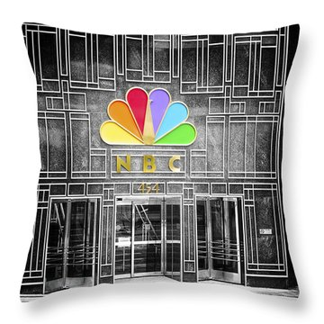 Nbc Facade Selective Coloring Throw Pillow by Thomas Woolworth