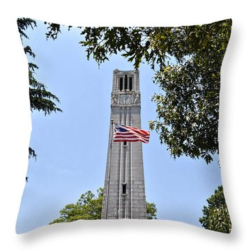Nc State Memorial Bell Tower And Us Flag Throw Pillow
