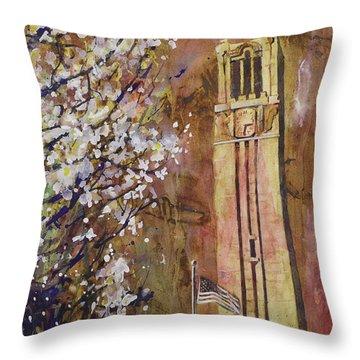 Ncsu Bell Tower Throw Pillow by Ryan Fox
