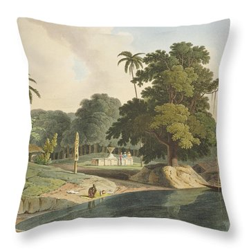Near Bandell On The River Hoogly, Plate Throw Pillow by Thomas & William Daniell