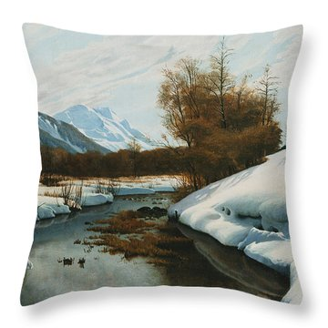 Near La Punt St Morritz In The Engadine Valley Throw Pillow by Peder Monsted