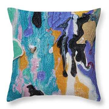 Near Sea Colorful Abstract Painting Throw Pillow