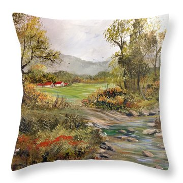 Near The River Throw Pillow