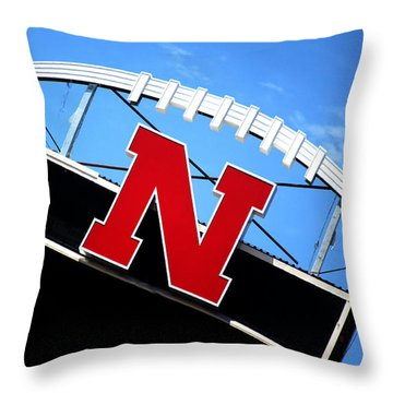 Nebraska Husker Memorial Stadium Throw Pillow