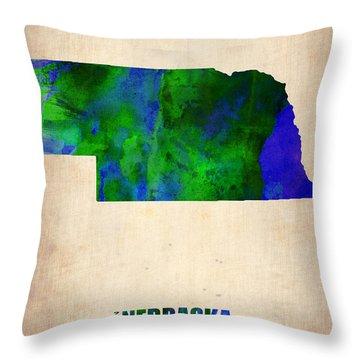Nebraska Watercolor Map Throw Pillow by Naxart Studio