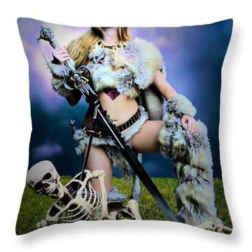 Necromancer On The Killing Fields Throw Pillow